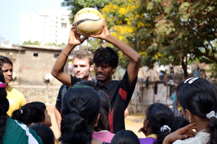 Franz Gastler and a football coach train girls from Dharavi Slum, Mumbai
