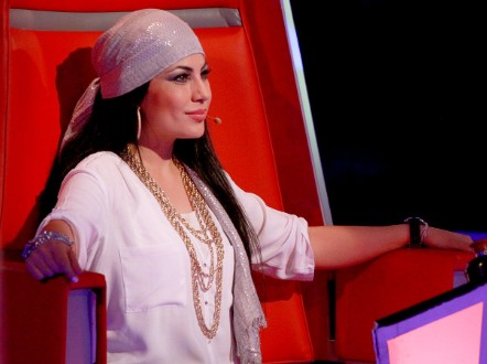 Afghan singer Aryana Sayeed as a judge on The Voice of Afghanistan.